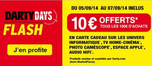 Darty Days 10 euros offerts tous les 100 euros