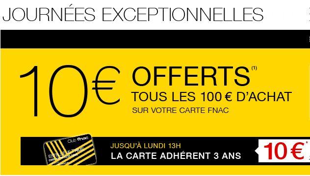 FNAC : 10 euros tous les 100 euros