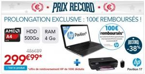 Moins de 300 euros le pack PC Portable HP imprimante souris