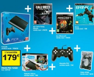 Pack Sony PS3 12 Go + manette + 4 jeux + cable + U draw