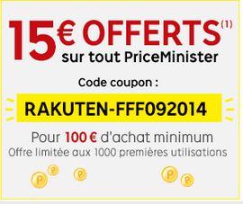 Priceminister: 15 euros offerts pour 100 euros