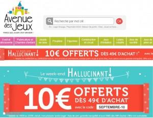 code promo Avenue des jeux 10 euros