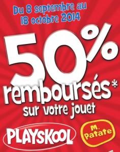 remboursement Playskool de 50%