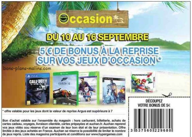 reprise jeu video Auchan 5 euros