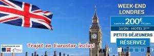séjour à Londres pour 200 euro