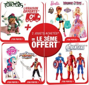 3ème Gratuit (Barbie, Monster High, Avengers, Tortues Ninja…)
