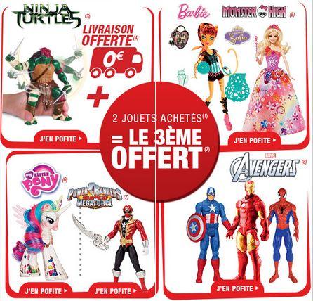 3ème Gratuit (Barbie, Monster High, Avengers, Tortues Ninja…)