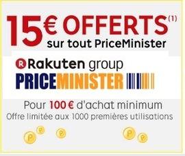 15 euros offerts pour 100 euros d'achats Priceminister