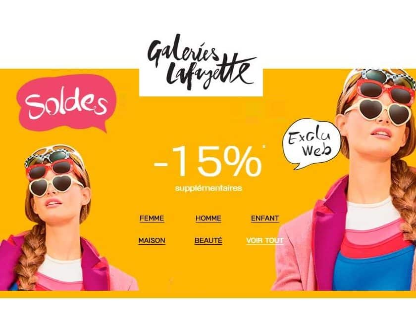 15% supplémentaires sur les Soldissimes Galeries Lafayette