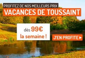 99 euros le séjour 7 nuits en France pendant les Vacances de la Toussaint