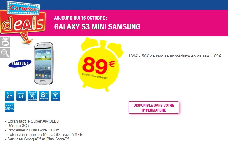 Samsung Galaxy S3 mini  89 euros