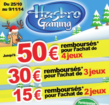 offre de remboursement jeux special Noel Hasbro