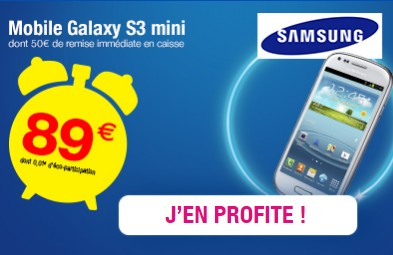 89 euros le smartphone samsung galaxy s3 mini aujourd hui seulement. Black Bedroom Furniture Sets. Home Design Ideas
