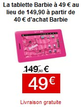 tablette tactile Barbie Lexibook offre FNAC