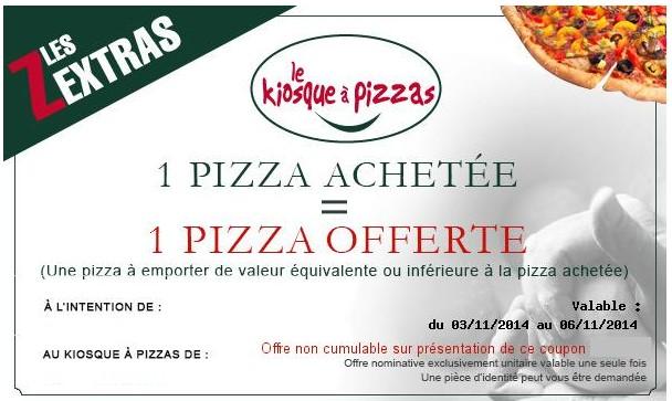 1 pizza gratuite pour une achetee