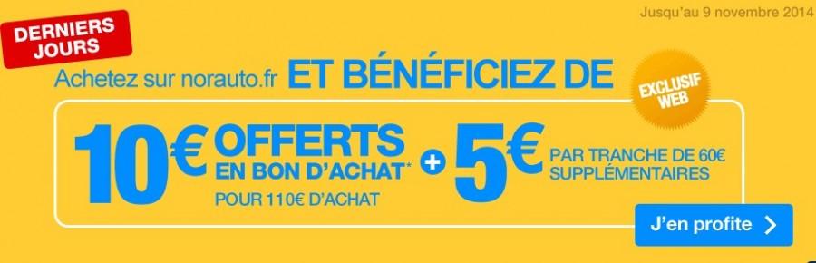 10 euros offerts dès 110 euros sur Norauto