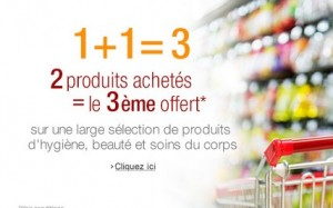 2 produits beauté, hygiène et soins achetés = le 3ème gratuit