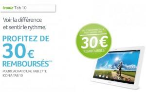 Acer rembourse 30 euros Iconia