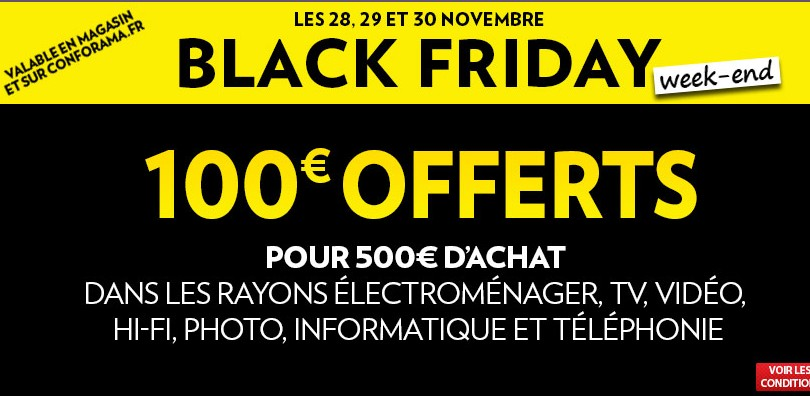 Black friday conforama 100 euros offerts pour 500 euros for Conforama black friday