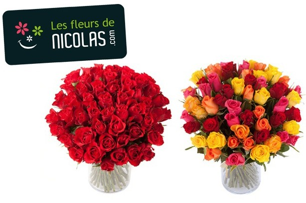 bouquet moiti prix 51 roses rouges ou couleurs pour 25 euros les fleurs de nicolas partout. Black Bedroom Furniture Sets. Home Design Ideas