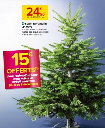 15 euros offerts pour l'achat d'un Sapin de Noel chez Castorama