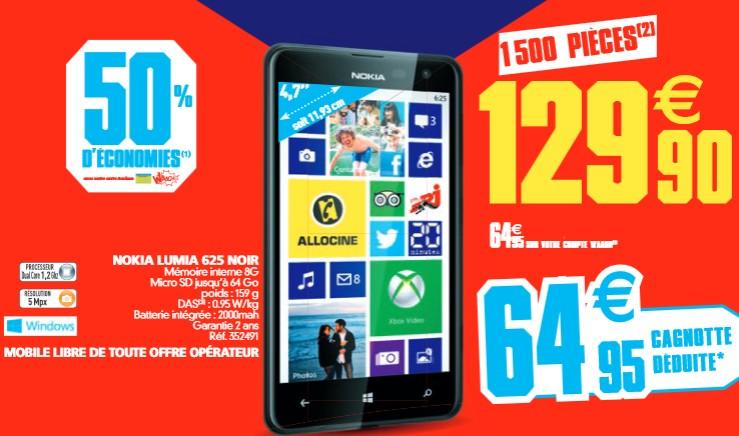 Smartphone Nokia Lumia 625 a moins de 65 euros AUCHAN