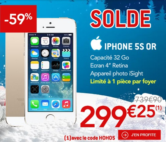 soldes moins de 300 euros l iphone 5s 32 go or apple. Black Bedroom Furniture Sets. Home Design Ideas