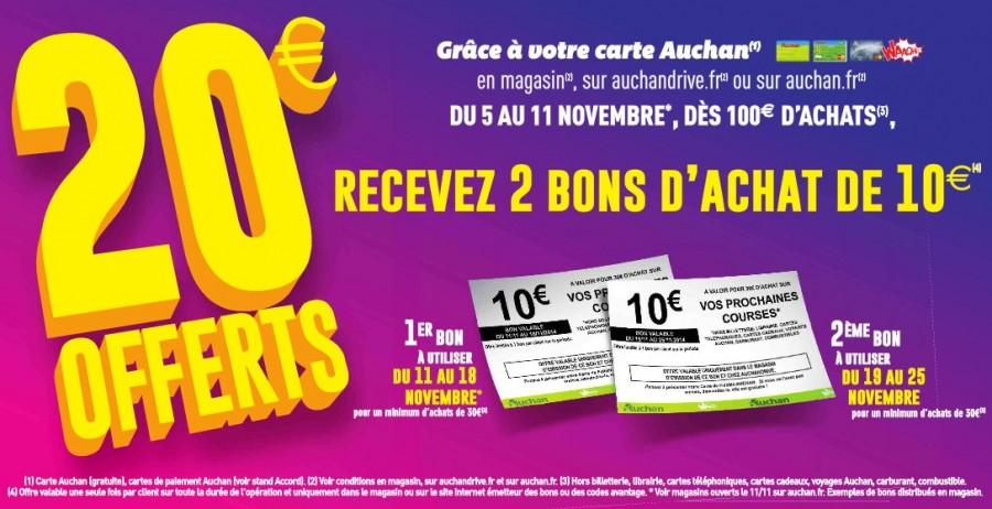 2 bons d achats de 10 euros offerts pour 100 euros d achat Auchan ... 81a57dd5cea