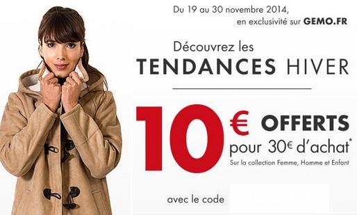 code promo GEMO 10 euros
