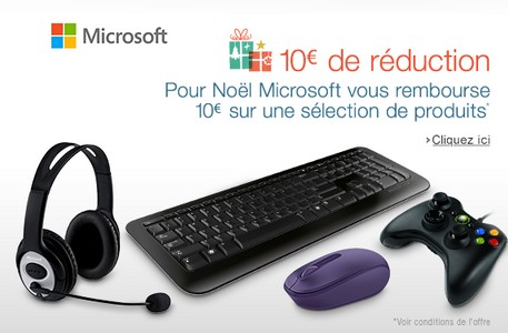 offre de remboursement Microsoft 10 euros accesoires PC