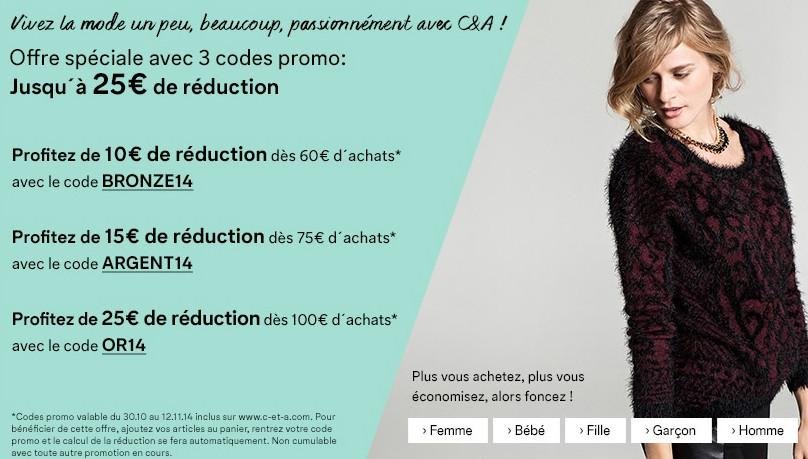promo C&A de 10 à 25 euros d'economies