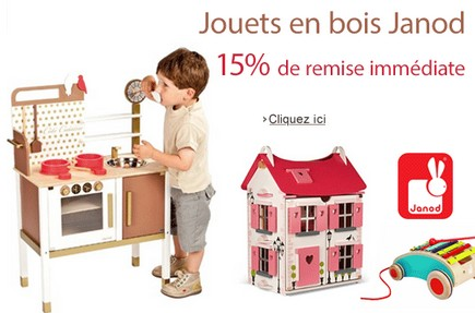 15 de remise imm diate sur les jouets en bois janod code promo sans minimum d achat. Black Bedroom Furniture Sets. Home Design Ideas