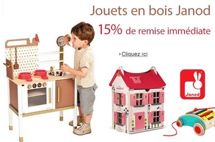 15% de remise immédiate sur les jouets en bois janod (code promo