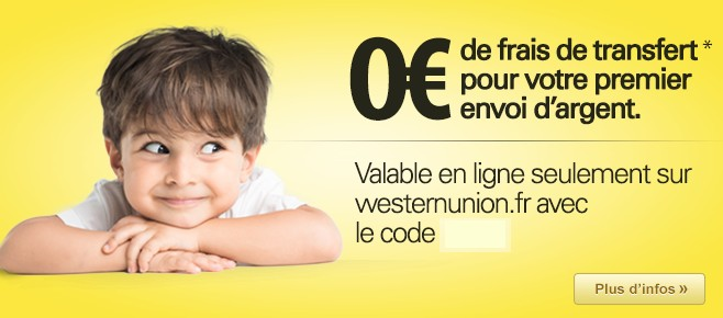 transfert argent gratuit Western Union
