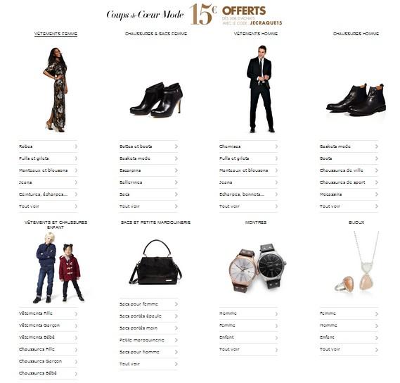 15 euros offerts sur la Mode