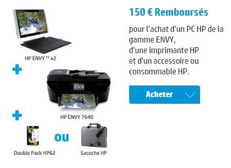offre hp no l jusqu 39 150 euros rembours sur l 39 achat de pc imprimante accessoire et. Black Bedroom Furniture Sets. Home Design Ideas