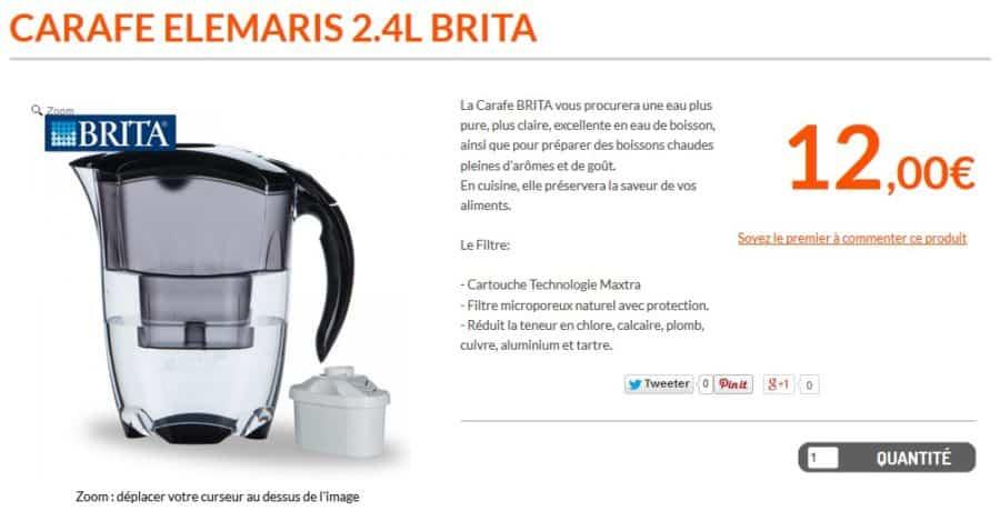 carafe filtrante Brita Elemaris 12 euros