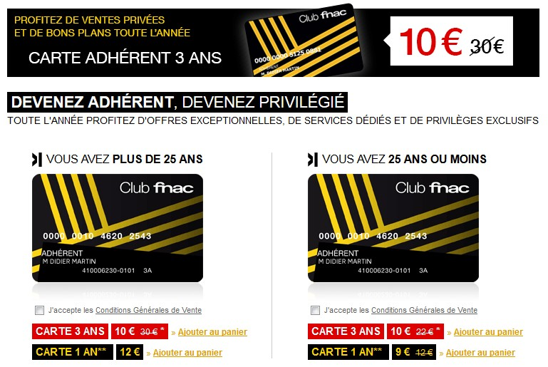 10 euros la carte FNAC