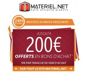 10 euros par tranche de 100 euros sur Materiel