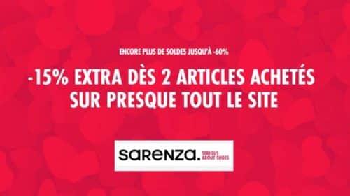 15% en plus sur les soldes Sarenza