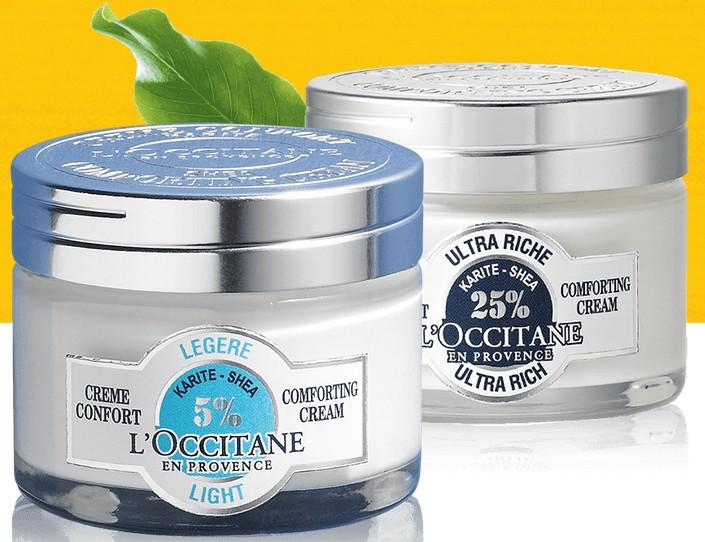 7 echantillons de creme L'Occitane gratuits
