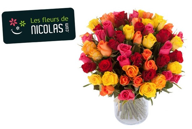 Sp cial st valentin 51 roses multicolores pour 25 euros for Prix bouquet de rose fleuriste