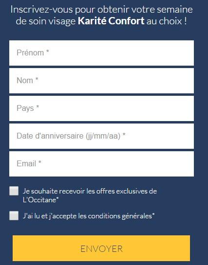 echantillons gratuits L'Occitane