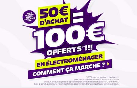 100 euros offerts sur l'eletromenager Cdiscount