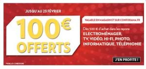 100 euros pour tout achat de 500 euros CONFORAMA