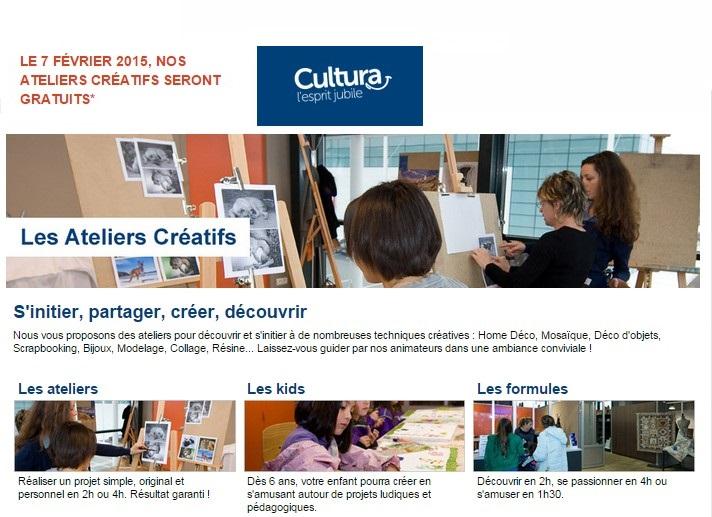 Ateliers Creatifs Cultura GRATUITS