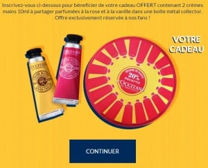 Boîte métal et crèmes L'Occitane en Provence gratuites