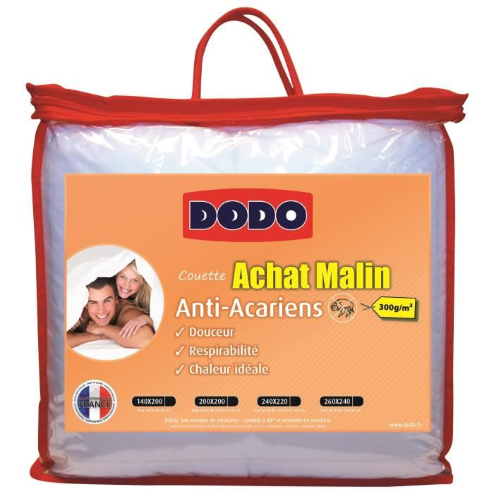 Couette anti acariens 500g m d s 39 90 blanr ve for Anti acariens maison