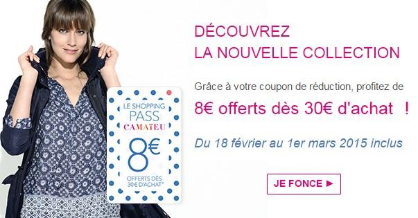 nouvelle collection Camaieu code promo 8 euros
