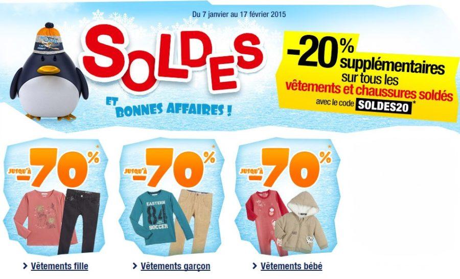 rabais sur les soldes Auchan vêtements enfants et bébé